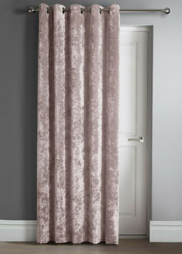 "Contemporary Crushed Velvet Ring Top Eyelet One Door Curtain Panel, 46"" X 84"" Blush Pink"
